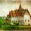 Thai temple beside lake - artwork in retro style - Stock Photo