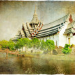 Thai temple - artwork in retro style - 图库照片