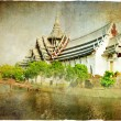 Thai temple - artwork in retro style - 