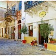 Stock Photo: Old pictorial streets of Greece - retro picture