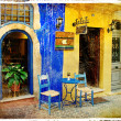 Colors of Greece - old streets of Crete - retro styled picture - Stock Photo