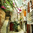 Courtyard of old Croatia - picture in painting style - Stock Photo