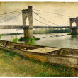 Pictorial scene with old boat - artwork in retro style — Stock Photo