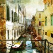 图库照片: Pictorial Venetistreets - artwork in painting style