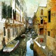 Pictorial Venetian streets - artwork in painting style — Stock Photo