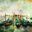 Gondolas - beautiful Venetian pictures - oil painting style — Stock Photo