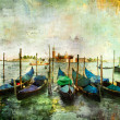 Stock Photo: Gondolas - beautiful Venetipictures - oil painting style