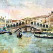 Rialto bridge - Venetian picture - artwork in painting style — Stock Photo