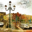 Stock Photo: Venice on sunset - artwork in painting style