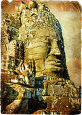 Ancient Cambodian temple Bayon - artwork in retro style — Stock Photo