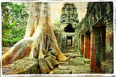 Ancient Cambodian temple - artwork in retro style — 图库照片