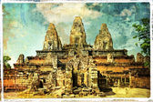 Ancient Cambodian temple Pre Rup - artwork in retro style — Stock Photo