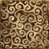 Vintage brown background with golden patterns — Foto de Stock