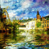 Old Belgium channel - picture on painting style — Stock Photo