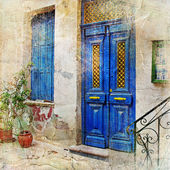 Traditional Greek streets -artwork in painting style — Stock Photo