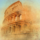 Great antique Rome - Coloseum , artwork in retro style — Photo