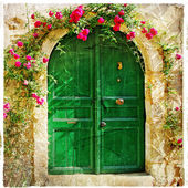 Old pictorial greek doors — Stock Photo