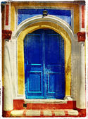Colored doors of greek islands - retro styled picture — Stock Photo