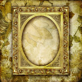 Decorative background with empty golden frame — Stock Photo
