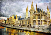 Gothic Belgium - artwork in painting style — Stock Photo
