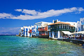 """small venice"" - famous part of greek Mykonos island — Stock Photo"