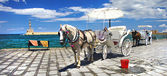 Horse-drawn carriage (Chania, Crete, Greece) — Stock Photo
