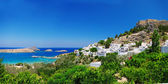 View at Lindou Bay from Lindos Rhodes island, Greece — Stock Photo