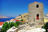 Beautiful Greece - pictorial view with windmil of Symi island — Stock Photo