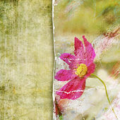 Retro tattered background with flower — Stock Photo