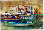 Pictorial small harbors of greek islands-artwork in painting style — Stock Photo