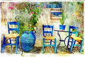Pictorial details of Greece - old chairs in taverna- retro styled picture — Stock Photo