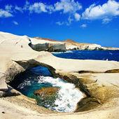 Amazing Greece series - Milos island, rocky cave — Stock Photo