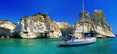 Greek holidays - beautiful island Milos - Kleftiko bay — Stock Photo