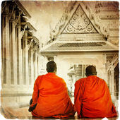 Two monks in Thai temple - artistic toned picture in retro style — Stock Photo