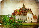 Tajski świątyni obok jeziora - grafika w stylu retro — Zdjęcie stockowe