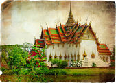 Thai temple beside lake - artwork in retro style — Stok fotoğraf