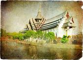 タイの寺院 - レトロなスタイルのアートワーク — ストック写真