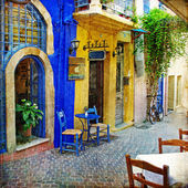 Colors of Greece - old streets of Crete - retro styled picture — Stock Photo
