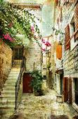 Binnenplaats van oude kroatië - foto in schilderstijl — Stockfoto