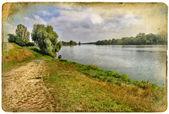 Postal vintage - lago tranquilo — Foto de Stock