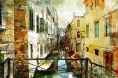 Obrazové benátské ulice - kresby v malířství styl — Stock fotografie