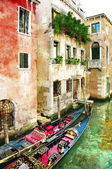 Beautiful Venetian pictures - oil painting style — Stock Photo