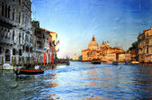 View of Grand canal on sunset - Venetian pictures in painting style — Stock Photo