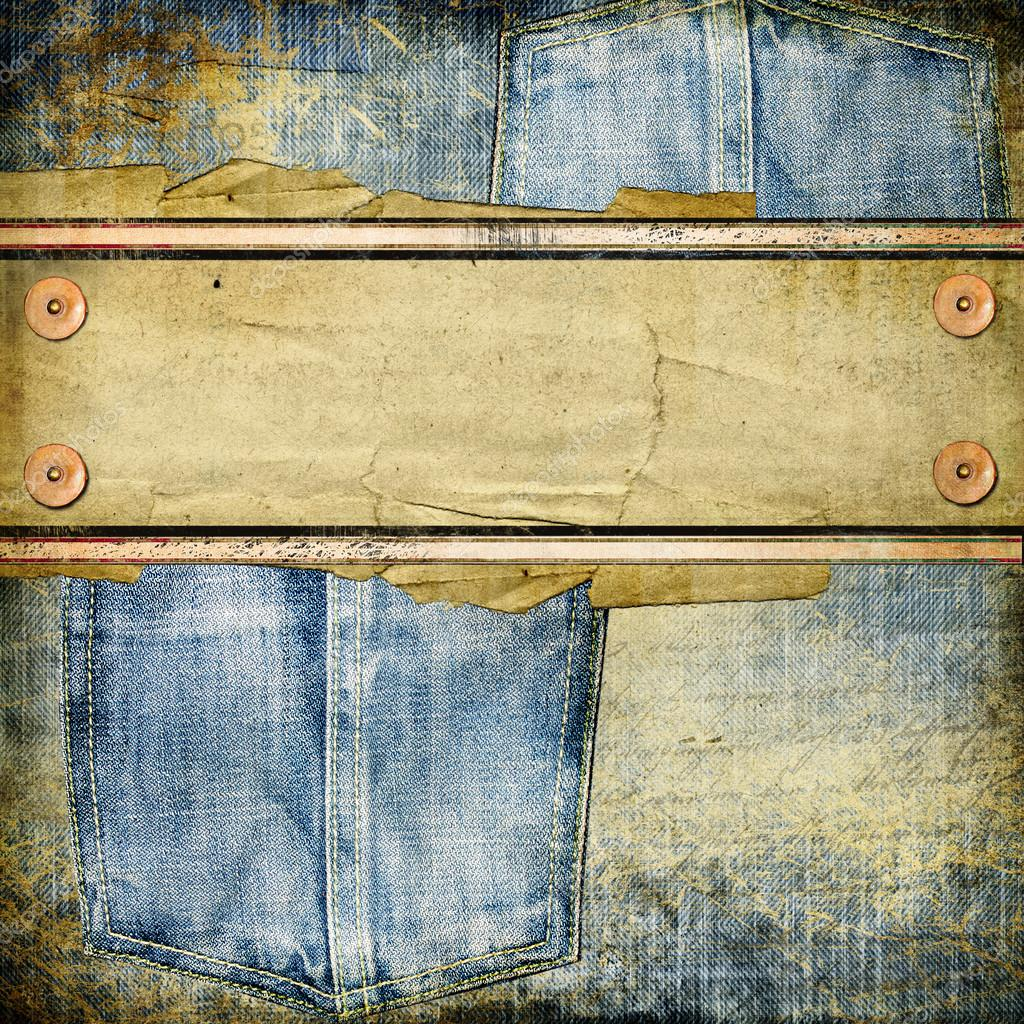 vintage jeans background with place for text � stock photo