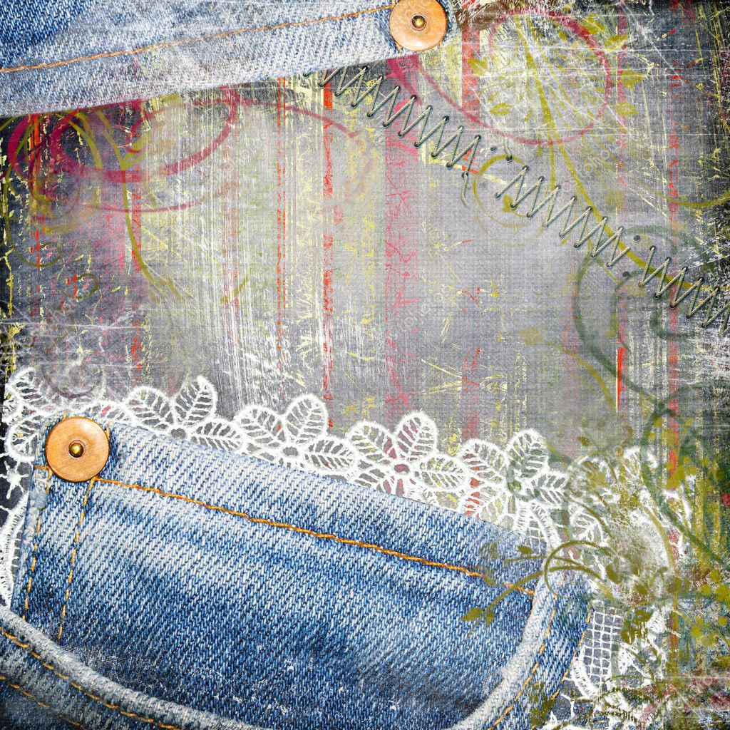 vintage background from jeans and lace � stock photo