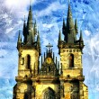 Prague cathedral - picture in painting style - Stock Photo
