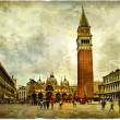 San Marco square - artistic retro styled picture - Stock Photo