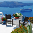 Stockfoto: View of volcano - beautiful Thira town (Santorini)