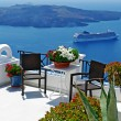 图库照片: View of volcano - beautiful Thira town (Santorini)