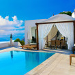 Romantic holidays - Santorini resorts - Stock Photo